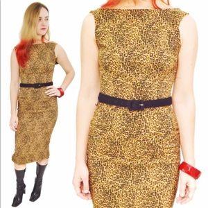 Vintage 80s Leopard Print Sexy Dress